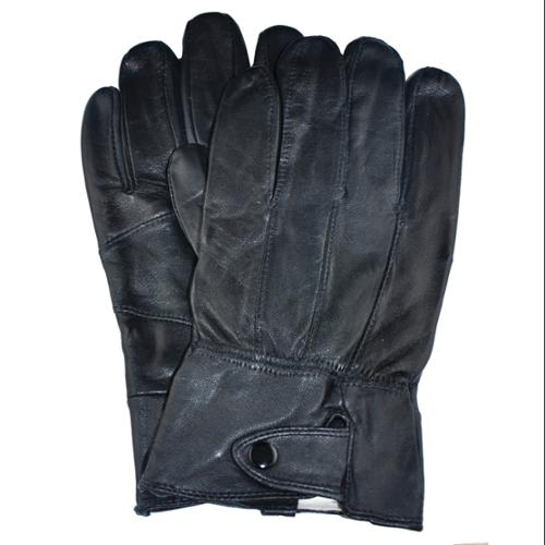 Samtee Leather Mens Glove With Snap Closure (Black, Large)