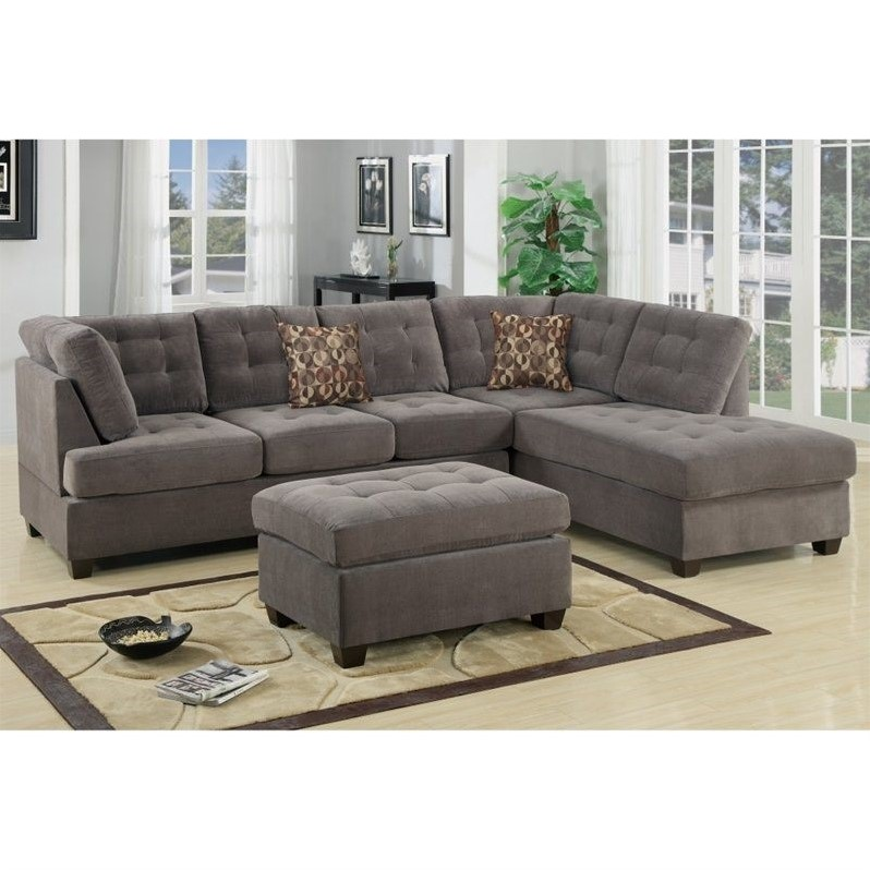 Poundex Bobkona Fairfax Waffle Suede Sectional Sofa in Charcoal