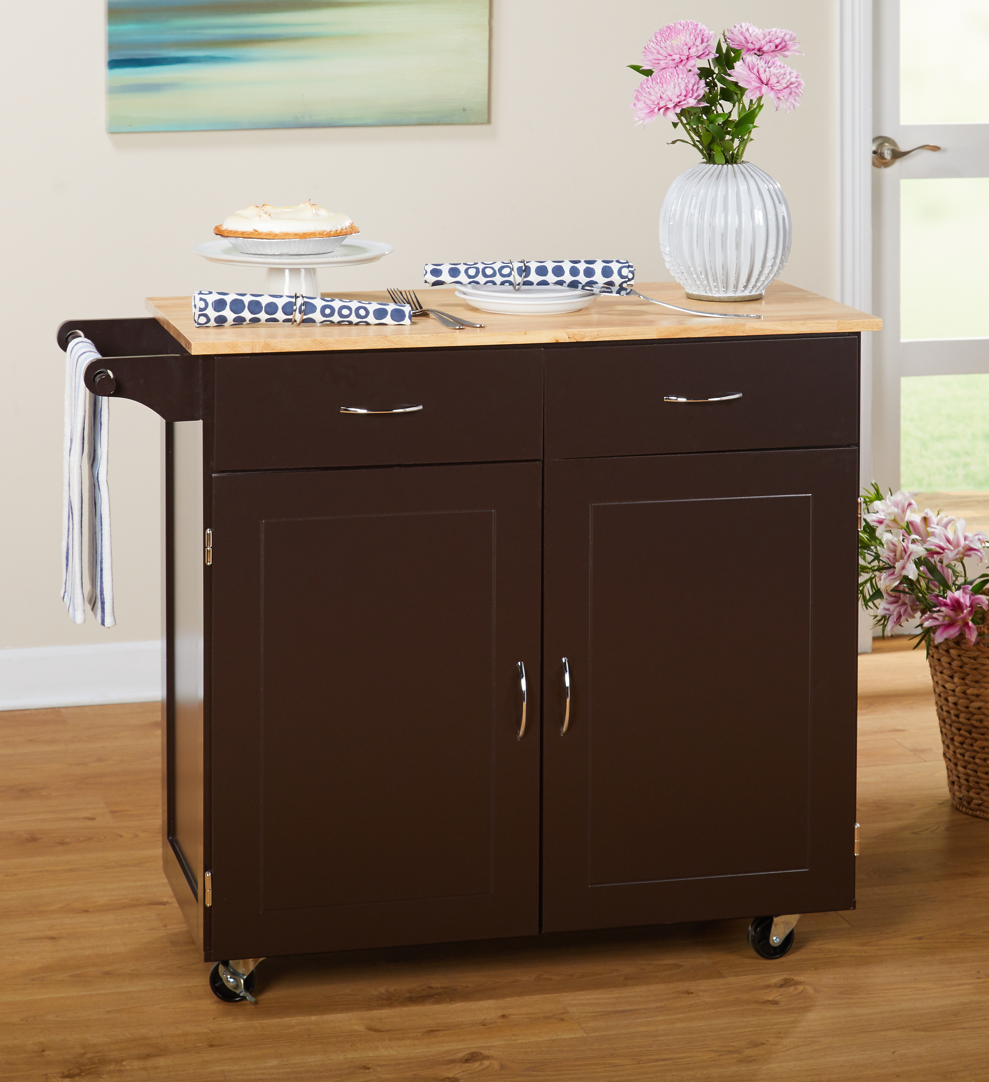 Target Marketing Systems Large Kitchen Cart with Rubberwood Top, Espresso