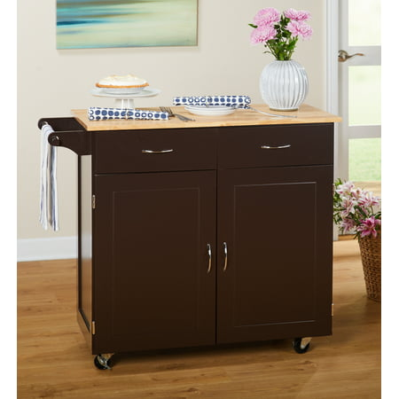 - TMS Large Kitchen Cart with Rubberwood Top, Espresso