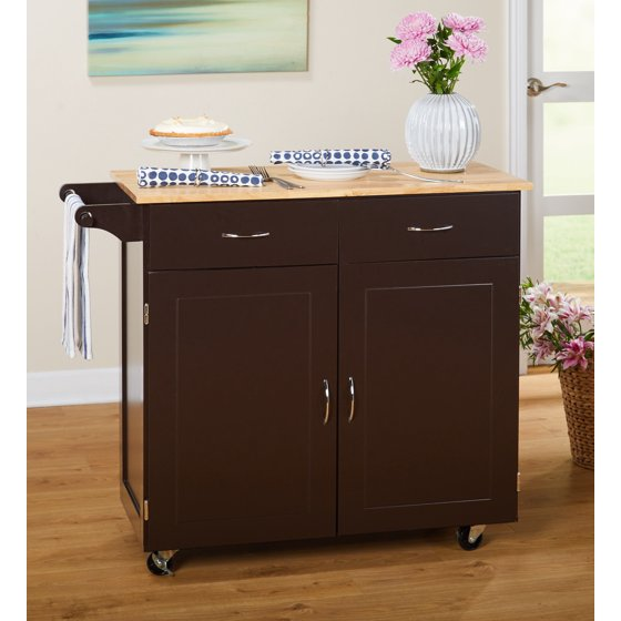 Walmart Kitchen Cart: Large Kitchen Cart With Rubberwood Top, Multiple Finishes