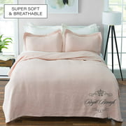 Royal Borough Luxuriously-Textured 100% Cotton Matelasse 3 pc. Solid Color Coverlet Set with Shams (Blush, Full/Queen)