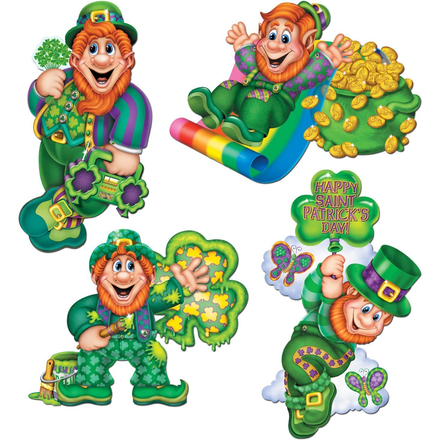 "St Patrick's Day Leprechaun 14"" Cutout (Set of 4) Pkg/12,..."