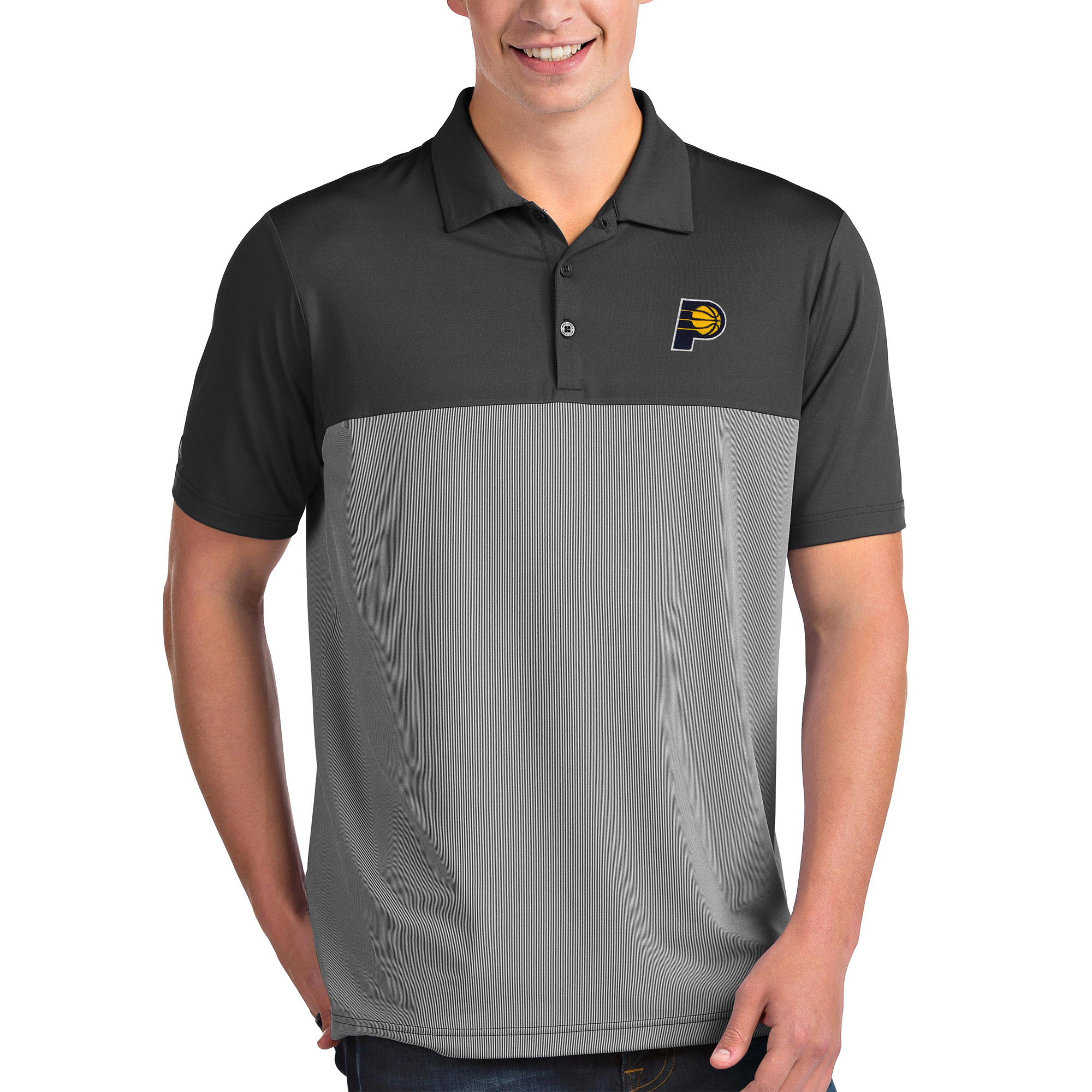 Indiana Pacers Antigua Venture Polo - Charcoal/White