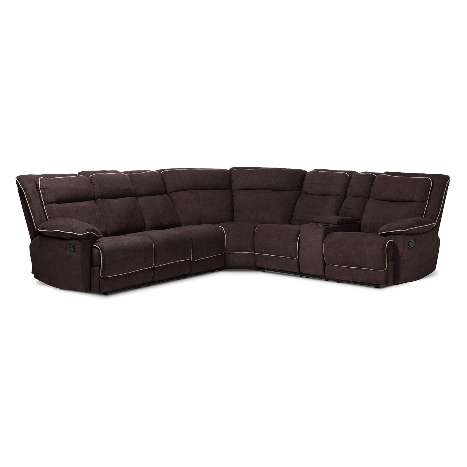 Baxton Studio Sabella Modern And Contemporary Taupe And Chocolate Two Tone  Fabric 7 Piece Reclining Sectional