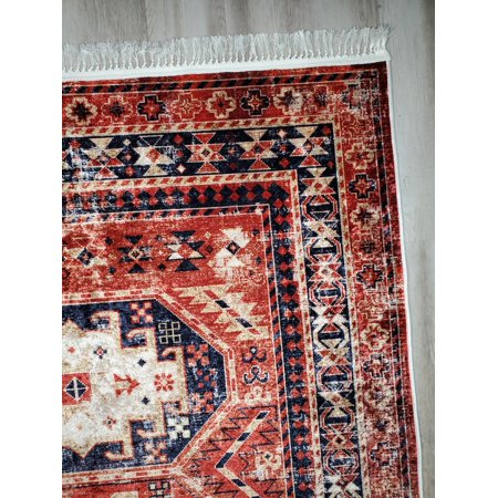 La Dole Rugs Red Blue Rustic Vintage Traditional Flat Pile