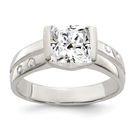 925 Sterling Silver Square Cubic Zirconia Ring - image 2 de 2