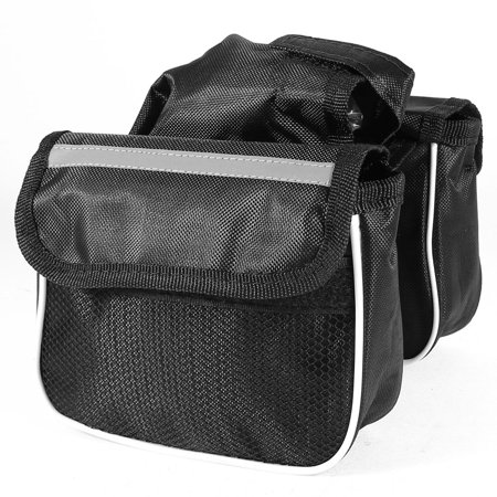 Black Nylon Mesh Cycling Front Bicycle Saddle Reflective Two Side Bag Pouch - image 3 of 3