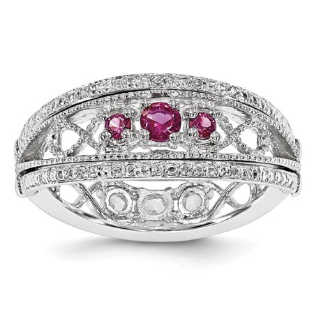 Flip Ring - Sterling Silver Created Ruby and Created White Sapphire 8mm Flip Ring