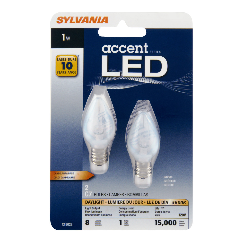 Sylvania C7 LED Night Light Bulbs, 1W, Daylight, 2-count