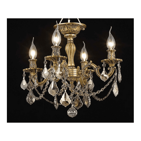 Flush Mounts 4 Light With Golden Teak (Smoky) Crystal Royal Cut French Gold size 17 in 240 Watts - World of Classic ()