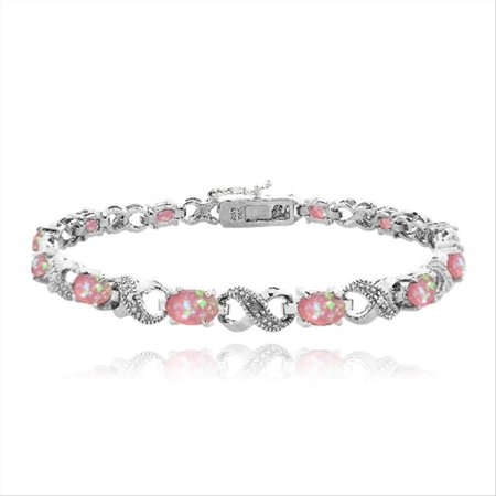 White Gold Pink Tourmaline Bracelet - 3ct Created Pink Opal & Diamond Accent Infinity Bracelet