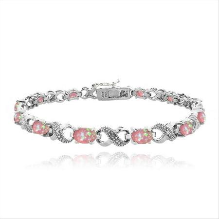 3ct Created Pink Opal & Diamond Accent Infinity Bracelet
