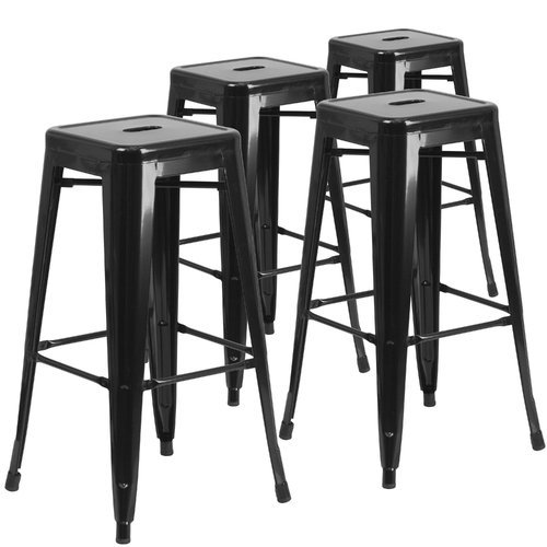 "Flash Furniture 30"" High Backless Metal Indoor-Outdoor Bar Stool"