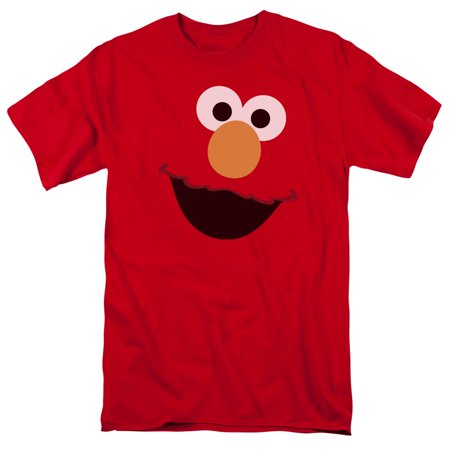Sesame Street Classic Children's TV Show Elmo Face Outline Adult T-Shirt Tee