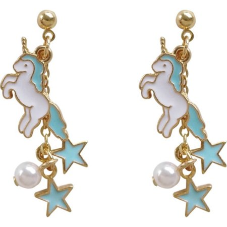 Unicorn Earrings Drop Dangle Blue White Pearl Star Unicorn Jewelry, J-57-B