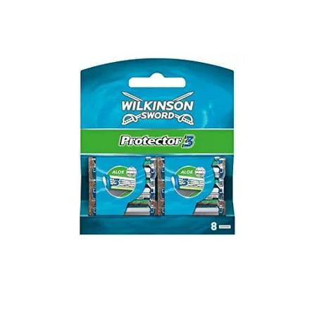 Alpha Sword - Wilkinson Sword Protector 3 Refill Cartridges Razor Blades, 8 Count (Comparable to Schick Protector)