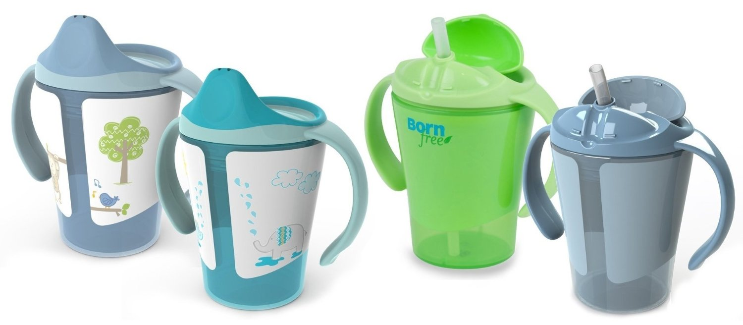 Born Free Grow with Me 6 oz Training Cup & Straw Cup Set, Blue by BF