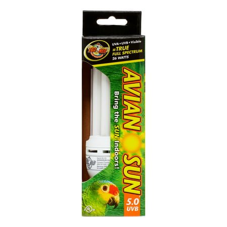 Zoo Med Avian Sun 5 0 Uvb Compact Fluorescent Bird Lamp 26 Watts