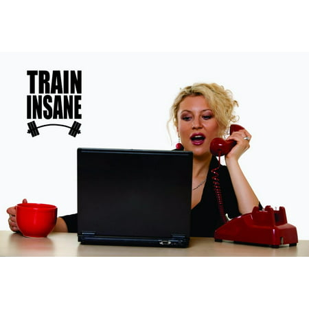 Custom Decals Train Insane Wall Art Size 20 X 40 Inches Color Black
