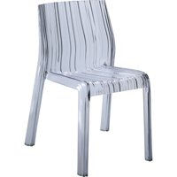 Modern Contemporary Urban Design Outdoor Kitchen Dining Side Chair, Clear, Plastic
