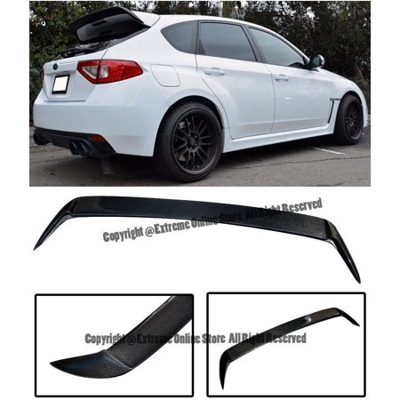 For 08-14 Subaru WRX & STi Hatchback / Wagon Rear Add-On Extension REAL CARBON FIBER Wing Spoiler Gurney Flap 2008 2009 2010 2011 2012 2013 2014 08 09 10 11 12 13 14