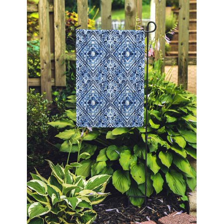 POGLIP Winter Watercolor Hand Blue Indigo Boho Pattern Watercolour Snowflak Batik Garden Flag Decorative Flag House Banner 28x40 inch - image 2 de 2