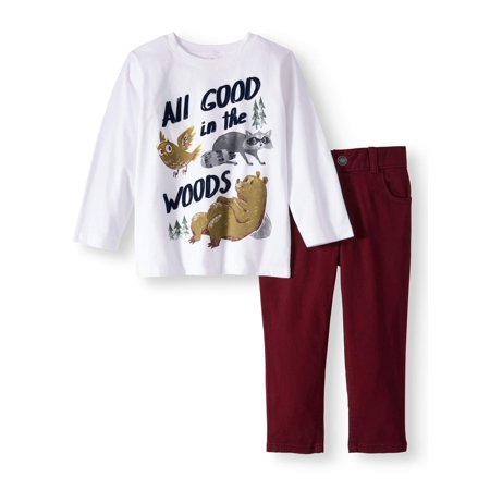 Garanimals Long Sleeve Graphic T-Shirt & Straight Leg Twill Pants, 2pc Outfit Set (Toddler Boys)