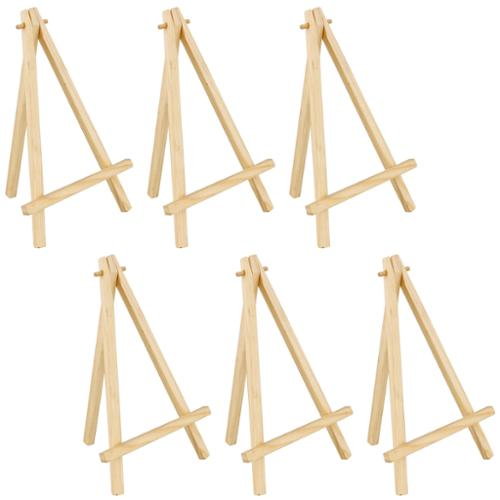 """6 Pack of US Art Supply® 8"""" Mini Wood Display Easel Natural Wood Finish Picture"""