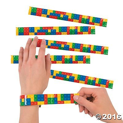 Color Brick Party Slap Bracelets - 12 ct - 90s Slap Bracelets