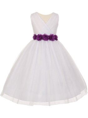 9285ff1d16 Product Image Little Girls White Purple Chiffon Floral Sash Tulle Flower  Girl Dress 2