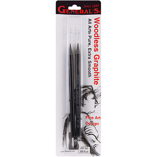General Pencil - Pure Woodless Graphite Set - Extra-Soft Set (2-8B Pencils,Sharpener)