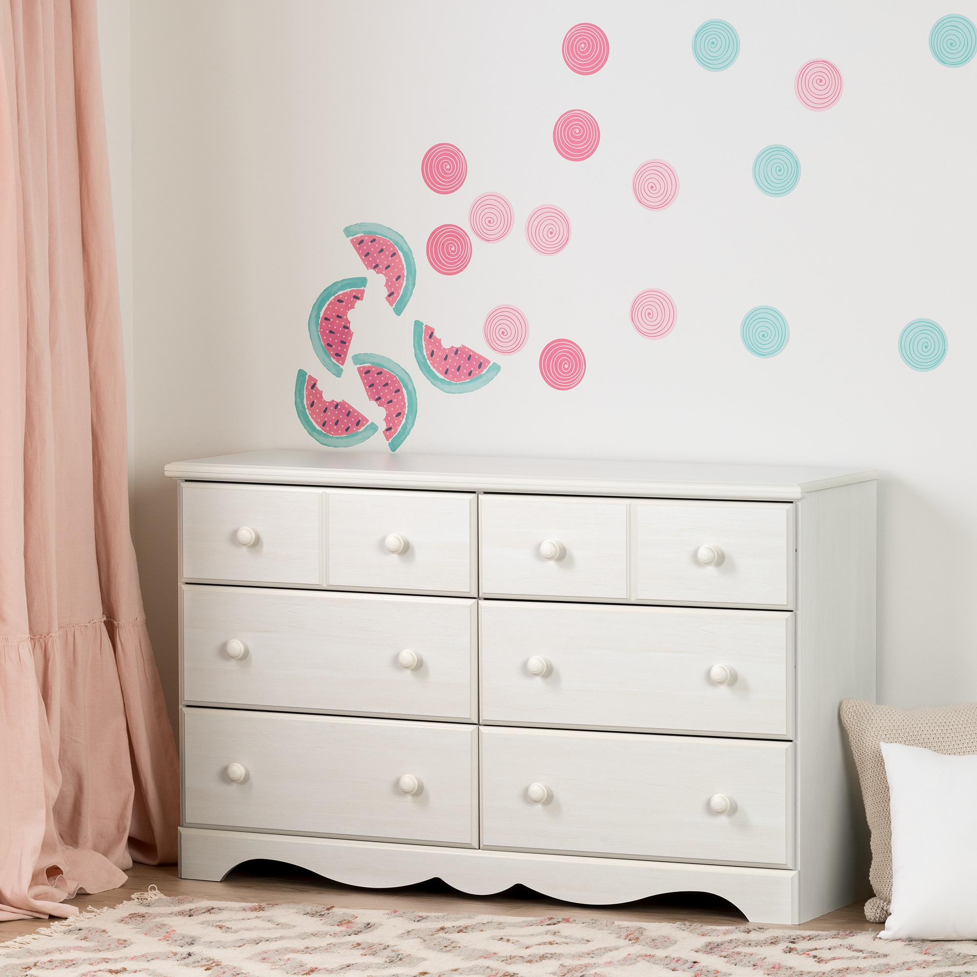 South S Summer Breeze Pure White And Pink 6 Drawer Double Dresser With Watermelons Dots Wall Decals