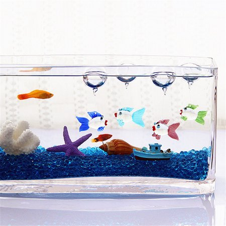 Aquarium Decorations,Colorful Floating Blown Glass Bubble Micro Fish Tank Landscape Ornament Deco Aquarium Fish Charms
