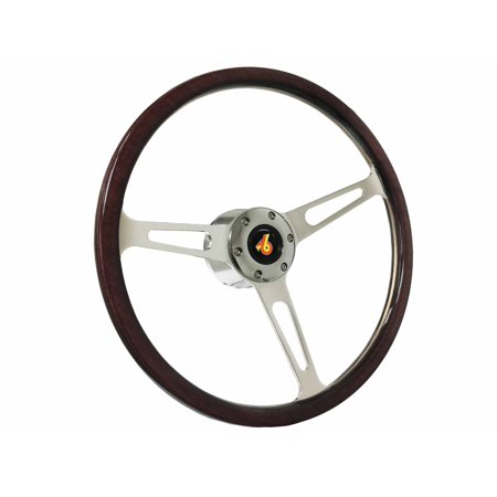1973 - 1987 Buick Regal Grand National S6 Classic Espresso Stained Wood Steering Wheel Chrome (1987 Buick Regal Grand National For Sale)