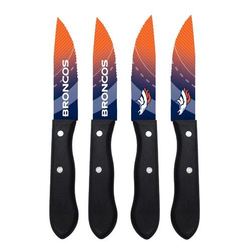 The Sports Vault - NFL 4-Piece Stainless Steak Knife Set, Denver Broncos