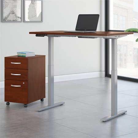 Move 60 Series Height Adjustable Standing Desk with Storage in Cherry - image 1 of 8