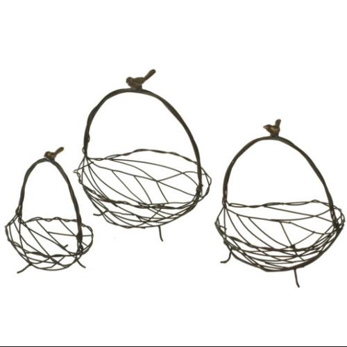 Bird and Twig Nested Cast Iron Basket Set