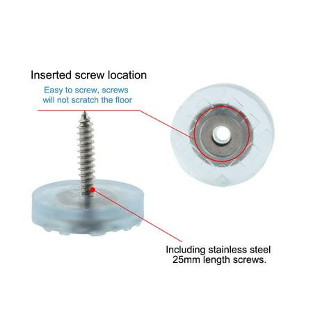 4pcs Rubber Feet Insert Metal Washer w Screws Furniture Leg Floor Protector 25mm - image 2 of 7