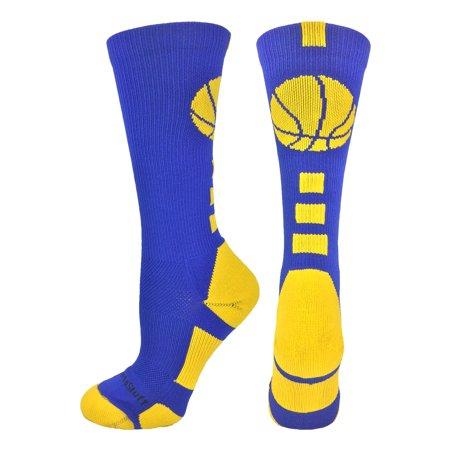 (MadSportsStuff Basketball Logo Crew Socks (Royal/Gold, Large))