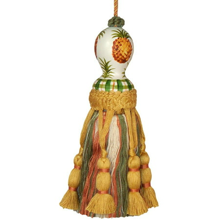 Tassel Pineapple Pair Polyrayon Carved Wooden Head Wood New Hand-Painted  JK-233