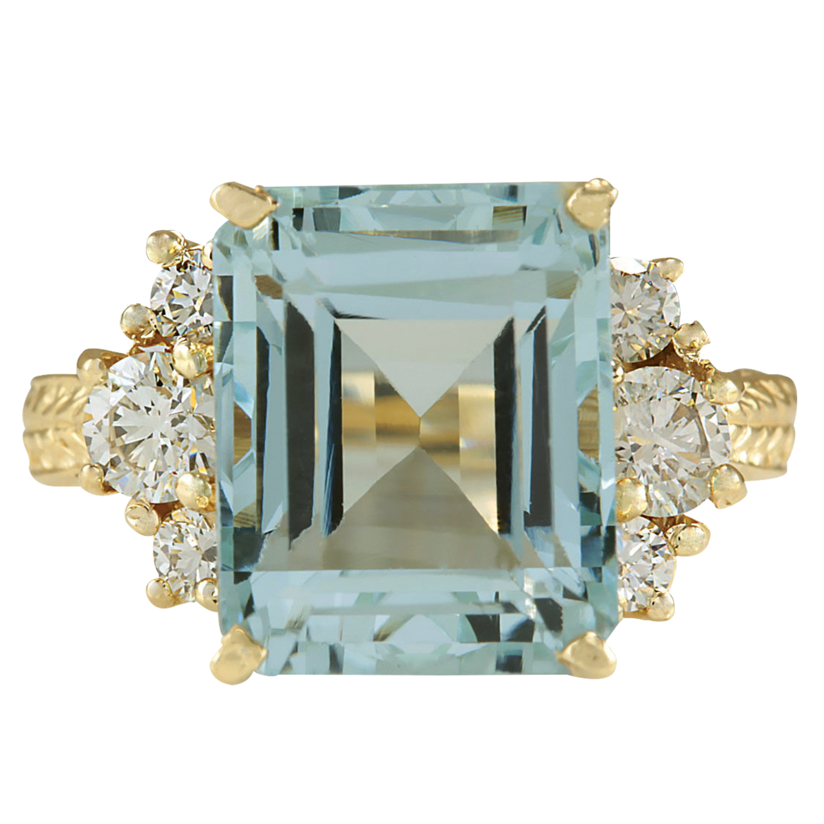 7.88CTW Natural Blue Aquamarine And Diamond Ring 14K Solid Yellow Gold by