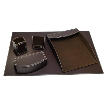 Dacasso Colors Faux Leather 5pc Office Organizing Desk Set - Espresso Brown