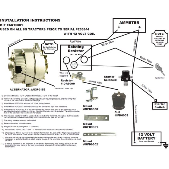 db electrical akt0001 for ford 8n 2n 9n tractor alternator for generator  conversion kit 1939-1951 8ne10300alt-c - walmart com