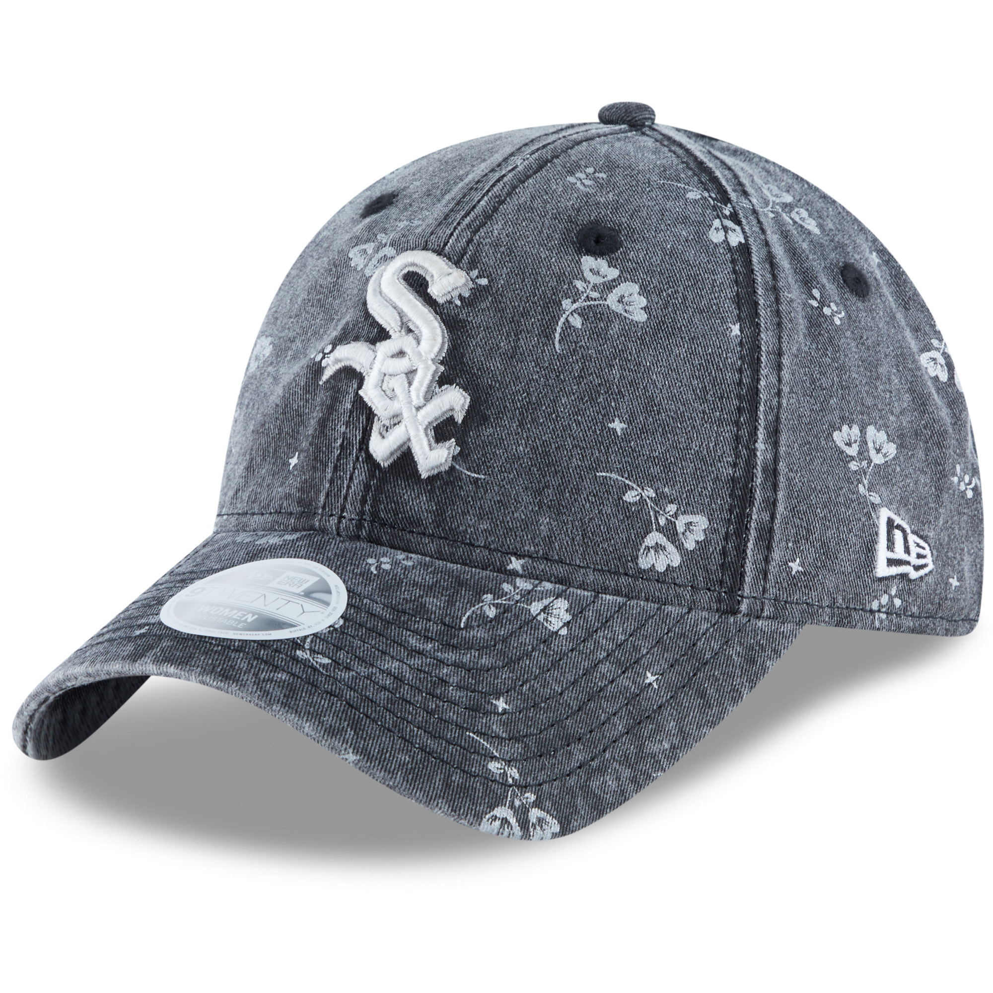 Chicago White Sox New Era Women's Floral Shine 9TWENTY Adjustable Hat - Black - OSFA