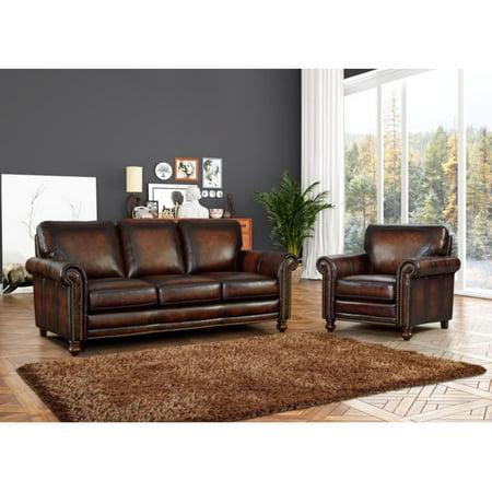 Grayson Hand Rubbed Top Grain Italian Leather Sofa - Walmart.com