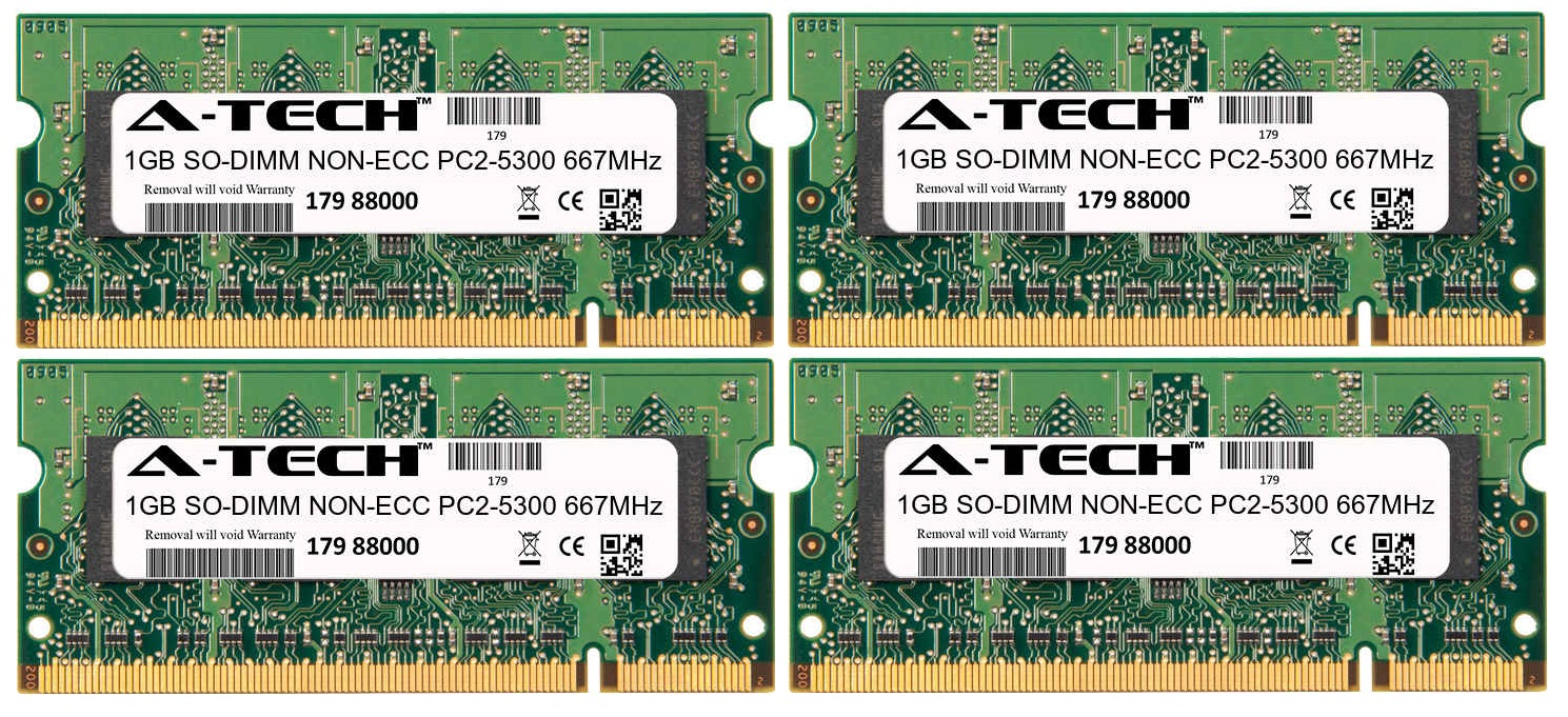 4GB Kit 4x 1GB Modules PC2-5300 667MHz NON-ECC DDR2 SO-DIMM Laptop 200-pin Memory Ram
