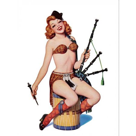Pin Up Redhead With Scottish Outfit Poster Print for $<!---->