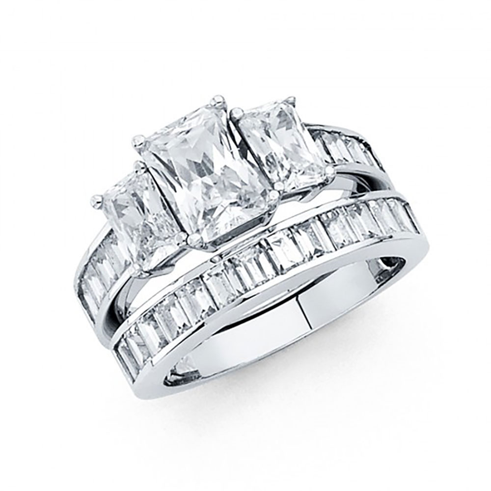 14k White Gold Radiant Cut CZ Channel Set Baguette Engage...