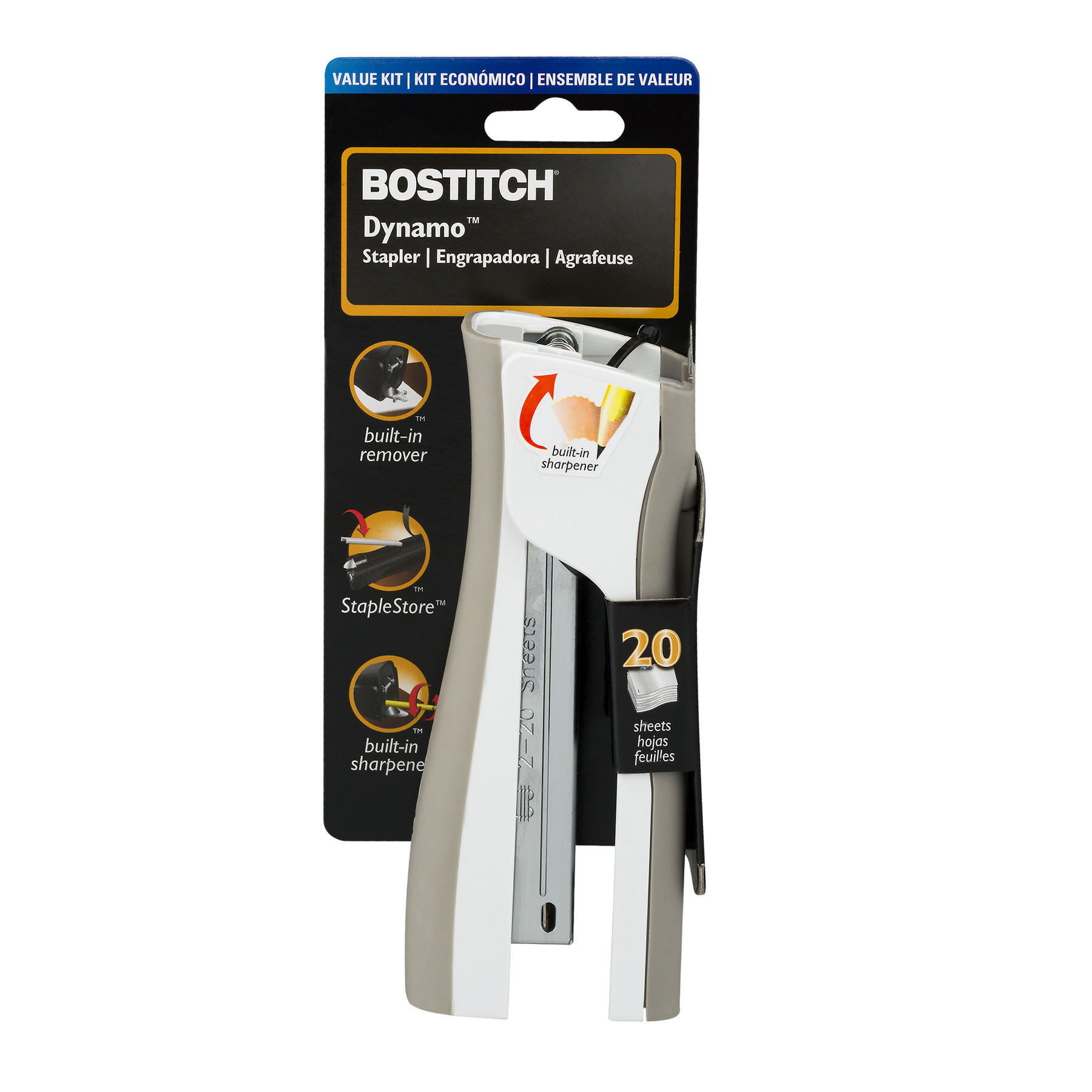 Bostitch Dynamo Stapler with Pencil Sharpener, Tan